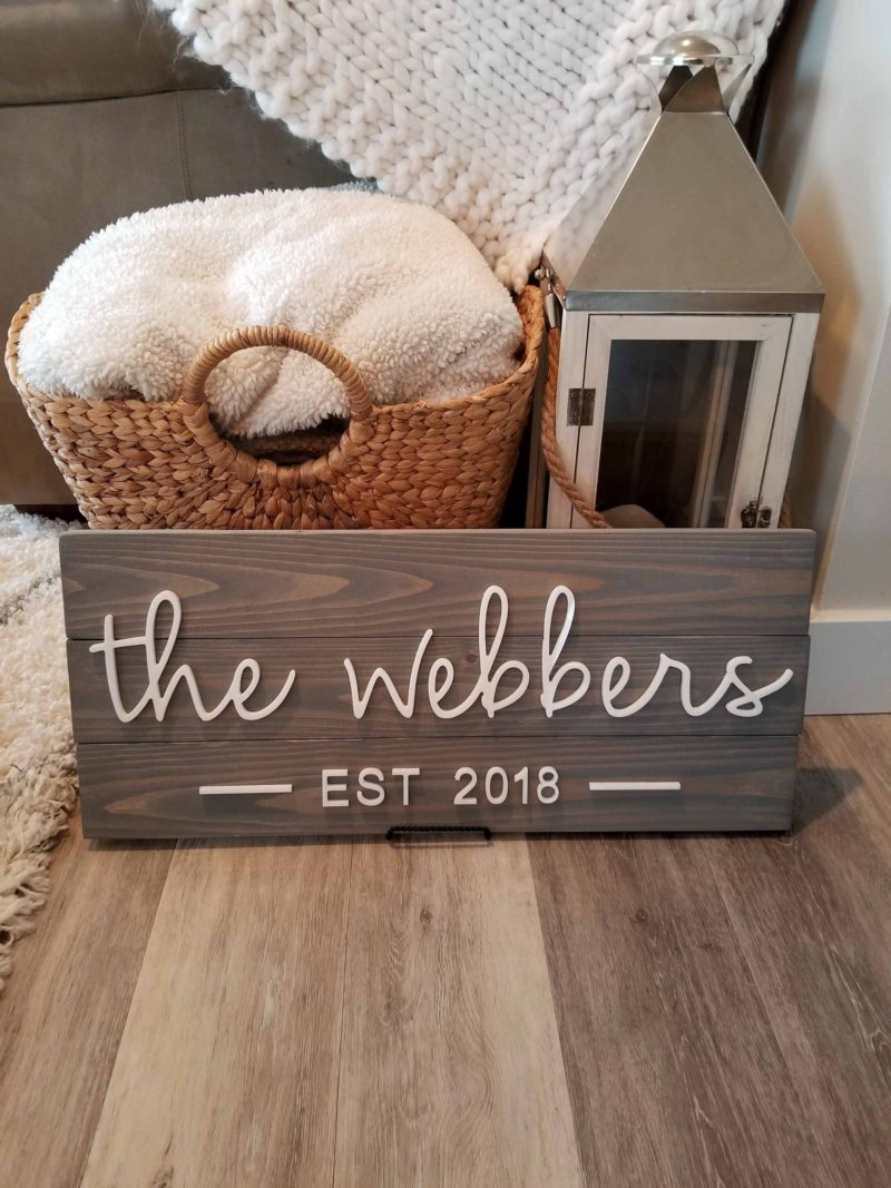acrylic 3D name sign on weathered pine